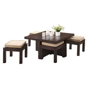Oakland Living Coffee Table Set - 4 Stools - Brown - Set of 5