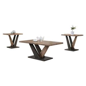Oakland Living Accent Table Set - Brown Wood - Set of 3