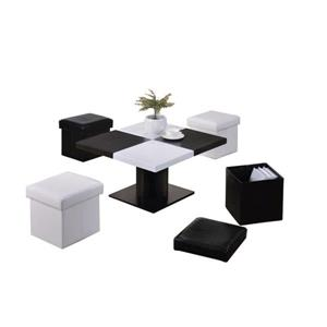 Oakland Living Coffee Table Set - 4 Storage Stools - Black and White - Set of 5