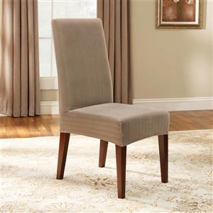 Sure Fit Stretch Pinstripe Dining Chair Cover - 18.5-in x 42-in - Taupe