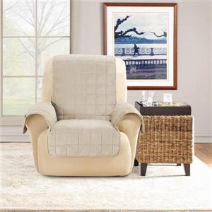 Sure Fit Deep Pile Velvet Recliner Cover - 30-in x 40-in - Cement