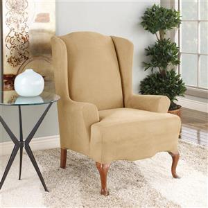 Sure Fit Stretch Suede Wing Chair Cover - 29-in 42-in - Camel
