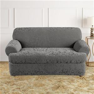 Sure Fit Jacquard Damask Loveseat Cover - 73-in x 37-in - Grey