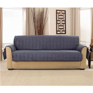 Sure Fit Deep Pile Velvet Sofa Cover - 93-in x 37-in - Storm Blue