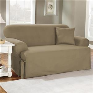 Sure Fit Duck Solid Loveseat Cover  - 73-in x 37-in - Linen