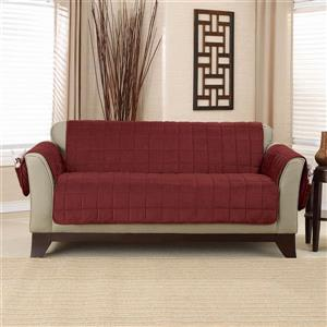 Sure Fit Deep Pile Velvet Loveseat Cover - 73-in x 37-in - Burgundy