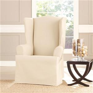 Sure Fit Sailcloth Wing Chair Cover - 29-in x 42-in - Natural