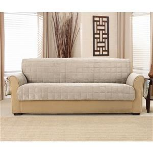 Sure Fit Deep Pile Velvet Sofa Cover - 96-in x 37-in - Cement