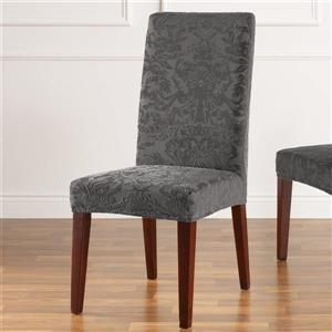 Sure Fit Jacquard Damask Dining Chair Cover - 18.5-in x 42-in - Grey