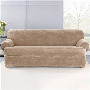 Sure Fit Stretch Plush Sofa Cover - 96-in x 37-in - Sable