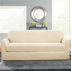 Sure Fit Stretch Pinstripe Sofa Cover - 96-in x 37-in - Cream