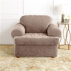 Sure Fit Jacquard Damask Chair Cover - 48-in x 37-in - Mushroom