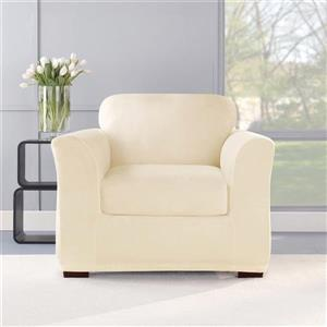 Sure Fit Stretch Plush Chair Cover - 48-in x 37-in - Cream