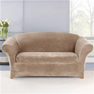 Sure Fit Stretch Plush Loveseat Cover - 73-in x 37-in - Sable