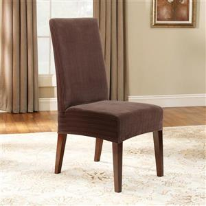 Sure Fit Stretch Pinstripe Dining Chair Cover - 18.5-in x 42-in - Chocolate