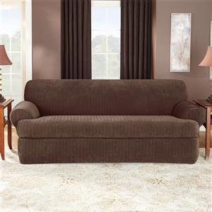Sure Fit Stretch Pinstripe Sofa Cover - 96-in x 37-in - Chocolate