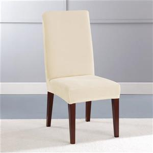 Sure Fit Stretch Plush Dining Chair Cover - 18.5-in x 42-in - Cream