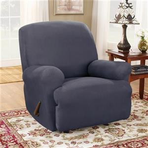 Sure Fit Stretch Suede Recliner Cover - 30-in x 40-in - Storm Blue