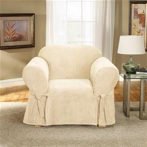 Sure Fit Soft Suede Chair Cover - 48-in x 37-in - Cream