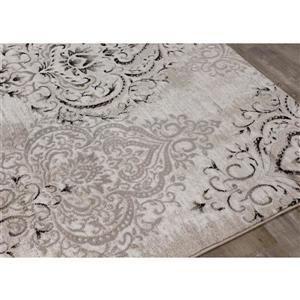 Kalora Platinum Rug - Faded Damask Pattern - 1.9-ft x 3.58-ft - White