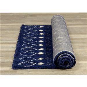 Kalora Maroq Rug - Latticework Pattern - 5.25-ft x 7.58-ft - Blue