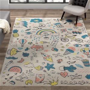 Kalora Kalora Kids Rug - Fun Doodles - 5.25-ft x 7.58-ft - Cream