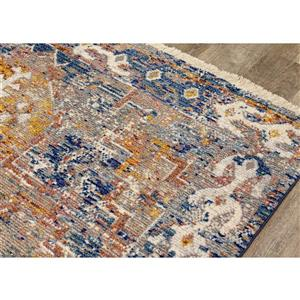 Kalora Evora Rug - Faded Traditional Pattern - 7.8-ft x 10.5-ft - Grey