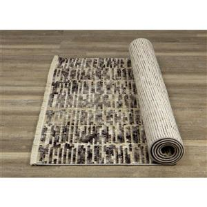 Kalora Nepal Rug - Banded Rows - 2.58-ft x 7.8-ft - Beige