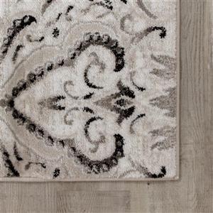 Kalora Platinum Rug - Faded Damask Pattern - 1.9-ft x 7.58-ft - White