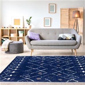 Kalora Maroq Rug - Latticework Pattern - 7.8-ft x 10.83-ft - Blue