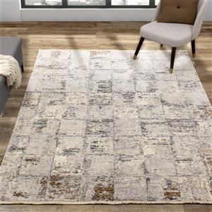 Kalora Evora Rug - Faded Squares - 2.58-ft x 4.9-ft - Grey