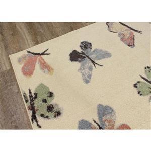 Kalora Focus Rug - Butterfly - 3.9-ft x 5.58-ft - Cream