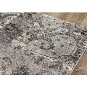 Kalora Breeze Rug - Faded Etching Pattern - 5.25-ft x 7.58-ft - Grey