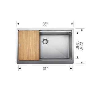 Blanco Quatrus Single Farmhouse Sink - Stainless Steel