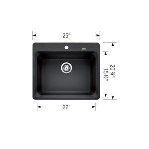 Blanco Vision Single Bowl Drop-in Sink - Concrete Grey