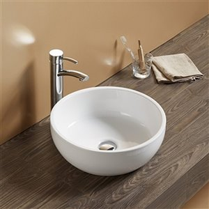 American Imaginations Vessel Bathroom Sink - Round Shape - 16.14-in x 16.14-in - White