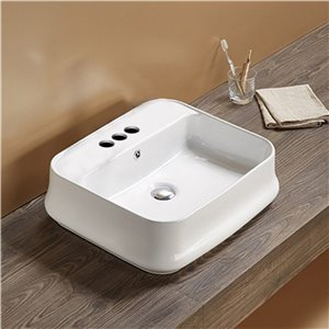 American Imaginations Vessel Bathroom Sink with Overflow Drain - 20.9-in x 18.11-in - White