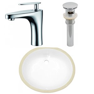 American Imaginations Undermount Bathroom Sink - Integrated Overflow - 16.5-in - White