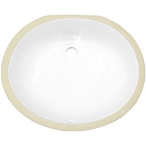 American Imaginations Undermount Bathroom Sink - Integrated Overflow Drain - 16.5-in x 13.25-in - White