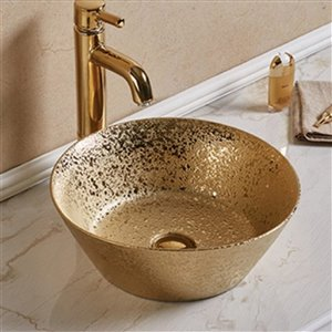 American Imaginations Round Vessel Bathroom Sink without Overflow - 15.94-in - Gold