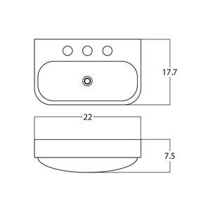 American Imaginations Vessel Bathroom Sink - Rectangular Shape - 22-in - White