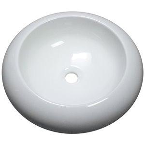 American Imaginations Vessel Bathroom Sink - Round Shape - 19.3-in x 19.3-in - White