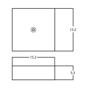 American Imaginations Vessel Bathroom Sink - Square Shape - 15.2-in x 15.2-in - White