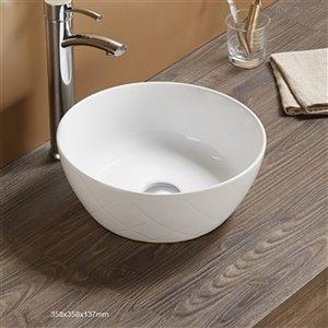 American Imaginations Vessel Bathroom Sink - Round Shape - 16.34-in - White