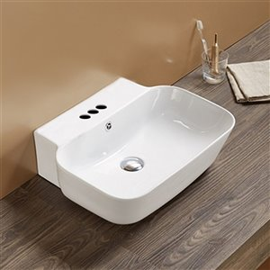 American Imaginations Rectangular Vessel Bathroom Sink - 20-in x 16.14-in - White