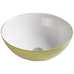 American Imaginations Vessel Bathroom Sink - Round Shape - 16.34-in x 16.34-in - Light Green