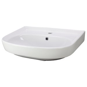 American Imaginations Vessel Bathroom Sink with Overflow Drain - Rectangular - 22-in - White