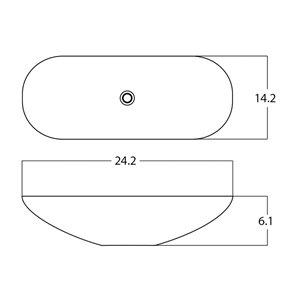 American Imaginations Vessel Bathroom Sink - Oval Shape - 24.2-in - White
