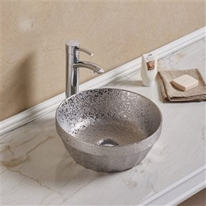 American Imaginations Vessel Bathroom Sink without Overflow - 14.09-in x 14.09-in - Silver