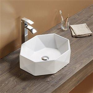 American Imaginations Vessel Bathroom Sink - Irregular Shape - 20.1-in - White